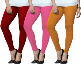 Lux Lyra Women's Red, Pink, Yellow Leggings Pack Of 3