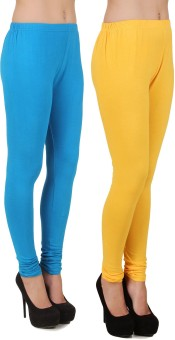 Stylishbae Women's Blue, Yellow Leggings Pack Of 2