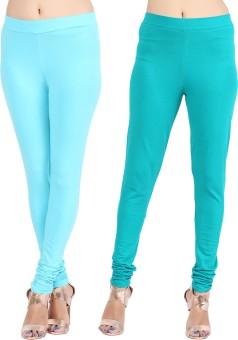 Lula Ms Women's Light Blue, Dark Green Leggings Pack Of 2