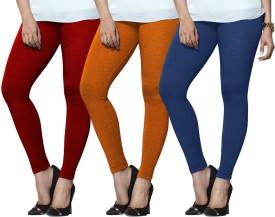 Lux Lyra Women's Red, Orange, Light Blue Leggings Pack Of 3