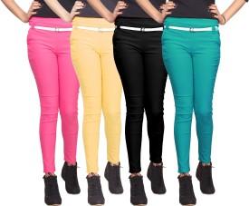 Xarans Women's Pink, Beige, Black, Green Jeggings Pack Of 4