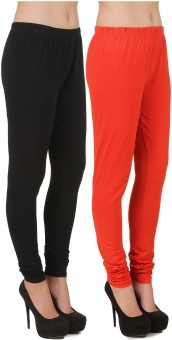 Stylishbae Women's Black, Orange Leggings Pack Of 2