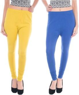 Colors More Women's, Girl's Blue, Yellow Leggings Pack Of 2