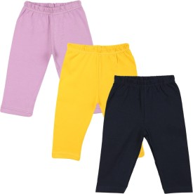 Color Fly Baby Girl's Purple, Dark Blue, Yellow Leggings Pack Of 3