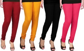 WCTrends Women's Yellow, Pink, Maroon, Black Leggings Pack Of 4