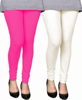 PAMO Women's Pink, White Leggings Pack Of 2