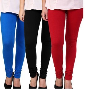 FOXY Women's, Girl's Blue, Black, Red Leggings Pack Of 3