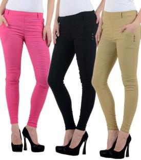 Marami Girl's Beige, Black, Pink Jeggings Pack Of 3