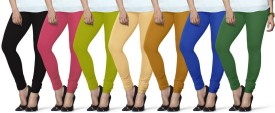 Lux Lyra Women's Black, Pink, Light Green, Beige, Yellow, Light Blue, Dark Green Leggings Pack Of 7