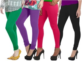 Ngt Women's Green, Purple, Pink, Black Leggings Pack Of 4