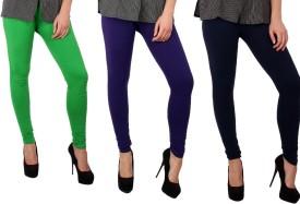 Sparkle Women's Green, Purple, Dark Blue Leggings Pack Of 3