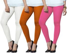 Lux Lyra Women's White, Orange, Pink Leggings Pack Of 3