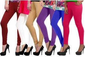 Ngt Women's Maroon, White, Beige, Purple, Blue, Pink Leggings Pack Of 6