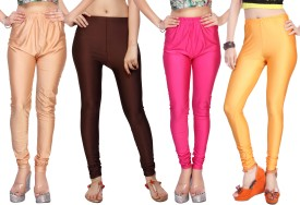 Comix Women's Beige, Brown, Pink, Orange Leggings Pack Of 4