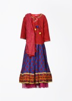 Biba Floral Print Baby Girl's Choli, Lehenga And Dupatta Set