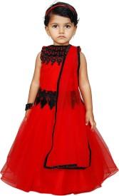 Angel Wears Self Design Baby Girl's Lehenga, Choli and Dupatta Set