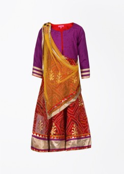 Biba Solid Girl's Choli, Lehenga And Dupatta Set