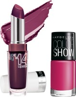 Maybelline Super Stay 14 Hr Lipstick With Hooked On Pink Nail Enamel 3.3 G (Always Plum - 260)