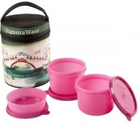 Signoraware Venice Executive - Pink (Medium-1080ml) 3 Containers Lunch Box (1080 Ml)