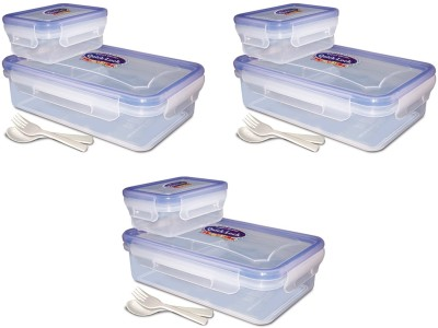 EGizmos Quick Lock Polypropylene (Pack Of 3) 850ML Rectangle Shape 3 Containers Lunch Box (850 Ml)