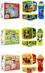 JUNGLE MAGIC Lunch Boxes SET OF PANDY , PARRY & DINO LUNCH BOX WITH FREE 1 WATER BOTTLE