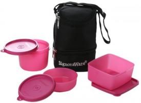 Signoraware Trio -Pink (1130ml) 3 Containers Lunch Box