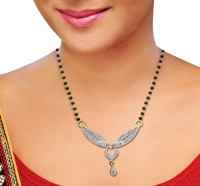 Jewelry Place Dazzling CZ Gold And Rhodium Plate Alloy Mangalsutra