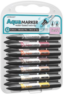 Buy Letraset AquaMarker Brush Shaped Tip Permanent Water-based Marker: Marker Highlighter