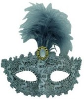 Smartcraft Stone Studded Feather Eye -Silver Party Mask (Multicolor, Pack Of 1)
