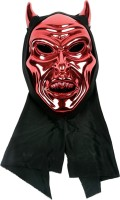 Funcart Red Devil Face With Horns Party Mask (Red, Pack Of 1)