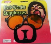 Funcart Herb Warrior Sunglasses With Moustache Party Mask (Black, Pack Of 1)