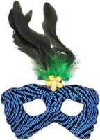 Tootpado Printed Carnival Eye Masks With Feathers - Black&Blue - For Halloween, Theme And Masquerade Parties Party Mask (Blue, Pack Of 1)