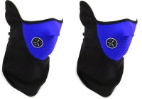 Rudham Blue Face Mask For Riding Bike Dust Sun Heat Cold Protection Anti-Pollution Set Of 2 Balaclava (Blue, Black, Pack Of 2)