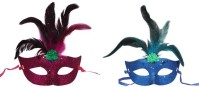 Funcart Glittery Eye With Feathers Party Mask (Multicolor, Pack Of 2)