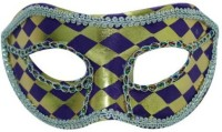 Smartcraft Eye Checked-Purple And Gold Party Mask (Multicolor, Pack Of 1)