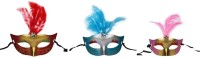 Funcart Eye With Feathers Party Mask (Multicolor, Pack Of 3)