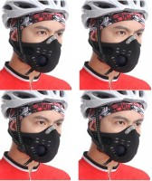 Sangaitap Combo Offer Of 4 Pes Face Nose Ear Neck Bike Motorcycle Riders Dust/Sun/Heat/Cold Protection Anti-pollution Mask (Black, Pack Of 4)