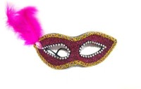 Mypartyshoponline Glitter Foam With Feather Party Mask (Pink, Pack Of 1)