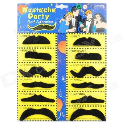 Funcart Stick On Party Moustache Party Mask (Black, Pack Of 12)