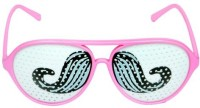 Funcart Moustache Pinhole Glasses Party Mask (Pink, Pack Of 1)
