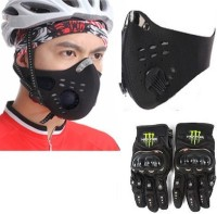 Sangaitap Combo Of Biker Face Cover And Bike Gloves Anti-pollution Mask (Black, Pack Of 1)
