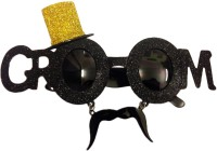 Funcart Groom Sunglasses With Mustache Gold Hat Party Mask (Black, Pack Of 1)
