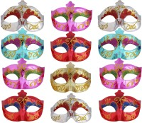 Tootpado Set Of 12 Glossy Carnival Eye Masks For Halloween, Theme And Masquerade Parties (Colours At Random) Party Mask (Multicolor, Pack Of 12)
