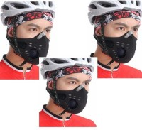 Sangaitap Combo Offer Of 3 Pcs Face Nose Ear Neck Bike Motorcycle Riders Dust/Sun/Heat/Cold Protection Anti-pollution Mask (Black, Pack Of 3)