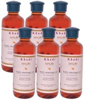 Khadi Mauri Herbal Body Massage Oil - Pack Of 6 - Premium Natural (1260 Ml)