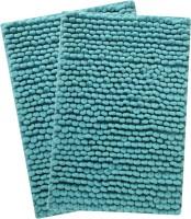 Saral Home Microfiber Large Bath Mat Premium Quality Soft Micro Polyester Bathmat Set Of 2Pc -45X65 Cm -2Pc Blue, 2Pc Bath Mat