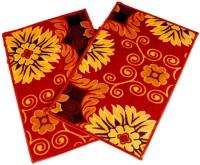 Ritika Carpets Velvet Medium Door Mat Door Mat Set Of 2 Red, 2 Mat