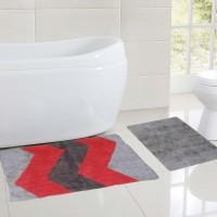 Bianca Cotton Small Bath Mat Designer Grey, Red, Blk, 2 Mats
