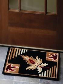 FabLooms Polypropylene Medium Door Mat Black Floral Polypropylene Doormat