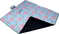 7Trees Cotton, PVC Large Camping Mat Foldable Dampproof Beach & Picnic Mat / Chatai - Pattern: Blue Flower (SkyBlue, Multicolor, 1 Picnic Mat)